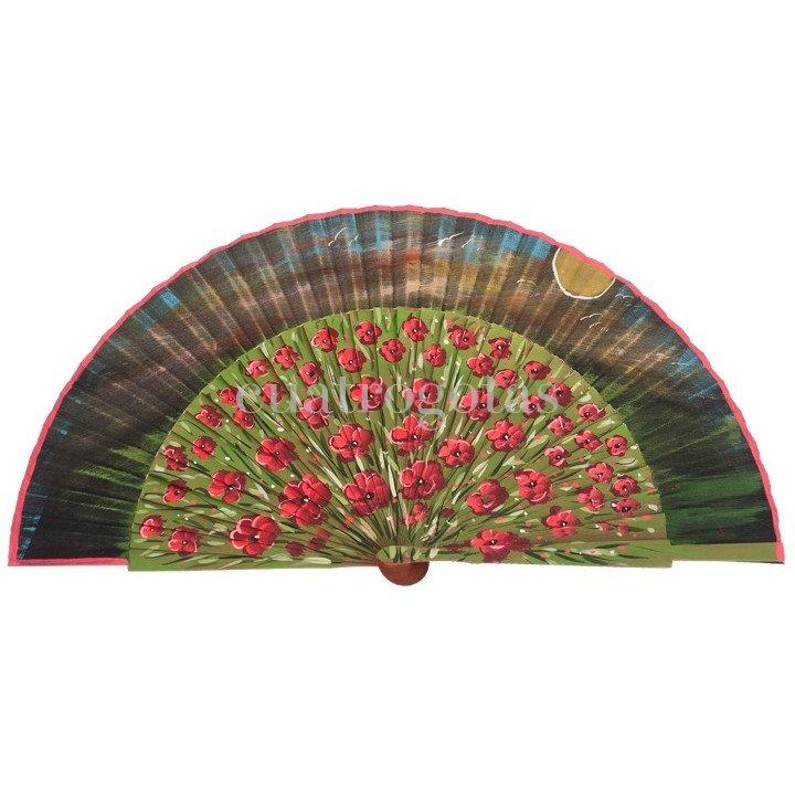 Abanico madera pintado a mano paisaje flores paraguas - Abanicos pintados a mano originales ...